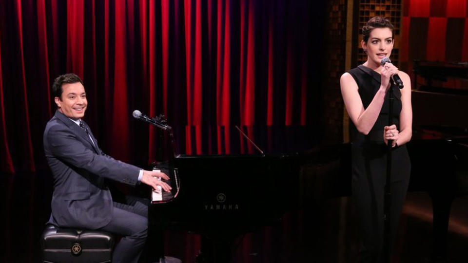 Jimmy Fallon and Anne Hathaway cover rap songs in a hilarious broadway style on the Tonight show!