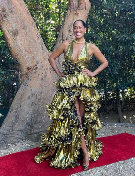 Tracee Ellis Ross rolled out her own red carpet for this Alexandre Vauthier gown and Jimmy Choos shoes. (instagram.com/traceeellisross)