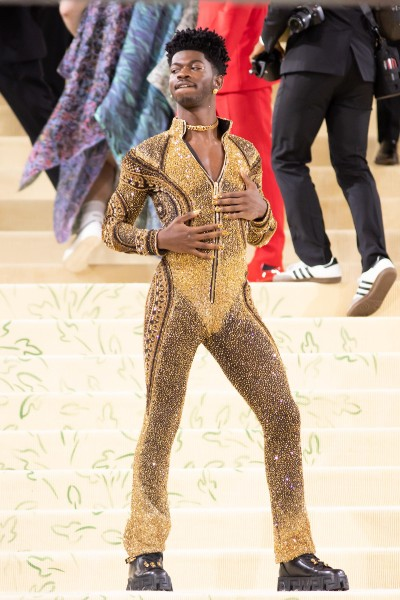 Lil Nas X in one of his three(!) costume changes from Versace.